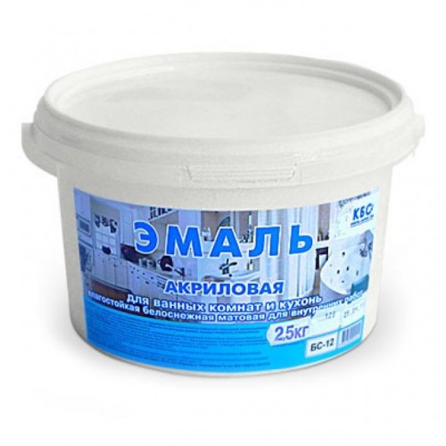 Эмаль акриловая для ванных комнат и кухонь-полуглянцевая БС-12П (1,0кг)