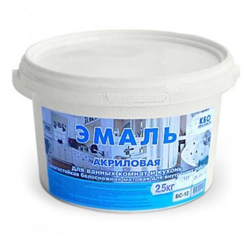 Эмаль акриловая для ванных комнат и кухонь-полуглянцевая БС-12П (5,0кг)