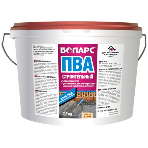 Клей ПВА БОЛАРС Строительный (пластификатор) 5,0 кг