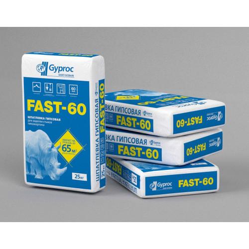 Шпатлевка (40641) Гипсовая Gyproc Fast 60 для заделки стыков 25 кг