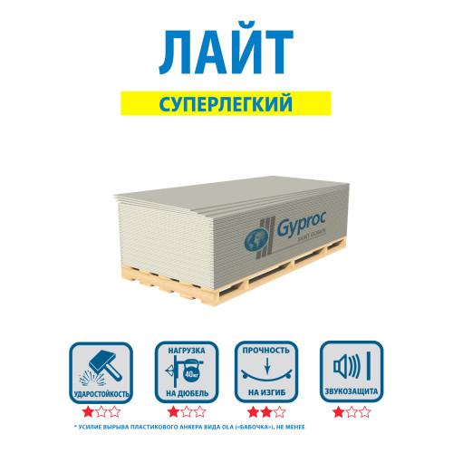 Гипсокартон Gyproc (Гипрок)  Лайт (1200х2500) 9,5 мм