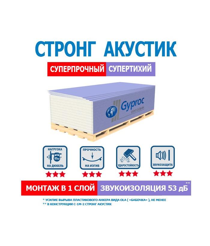 Гипсокартон Gyproc (Гипрок) Акустик Стронг (1200х2500) 15 мм
